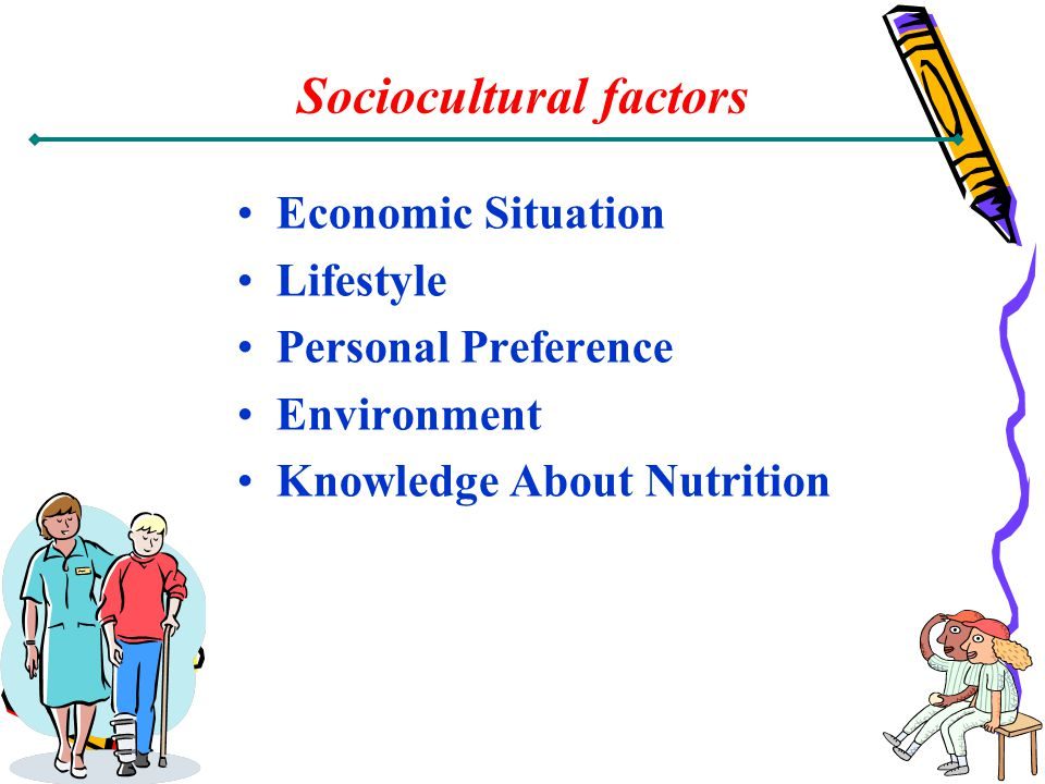 Sociocultural factors Economic Situation Lifestyle Personal Preference Environment Knowledge About Nutrition