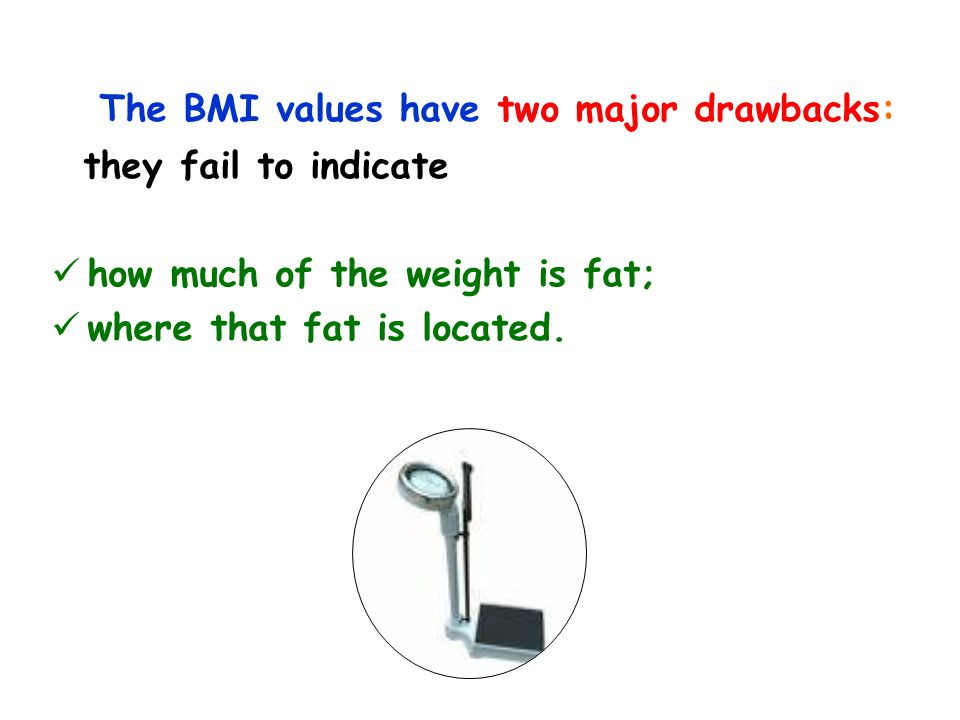 The BMI values have two major drawbacks: they fail to indicate how much of the weight is fat; where that fat is located.