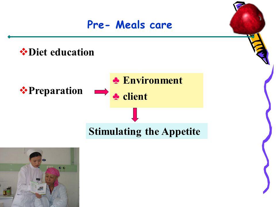 Pre- Meals care Diet education Preparation Stimulating the Appetite Environment client