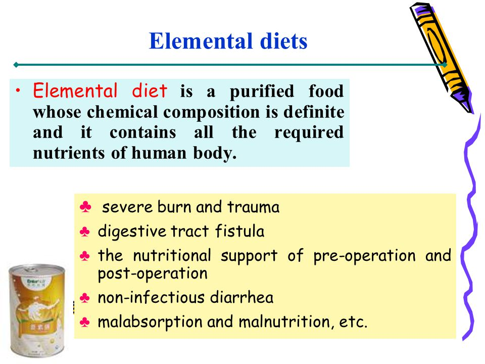 Elemental diets Elemental diet is a purified food whose chemical composition is definite and it contains all the required nutrients of human body. sev