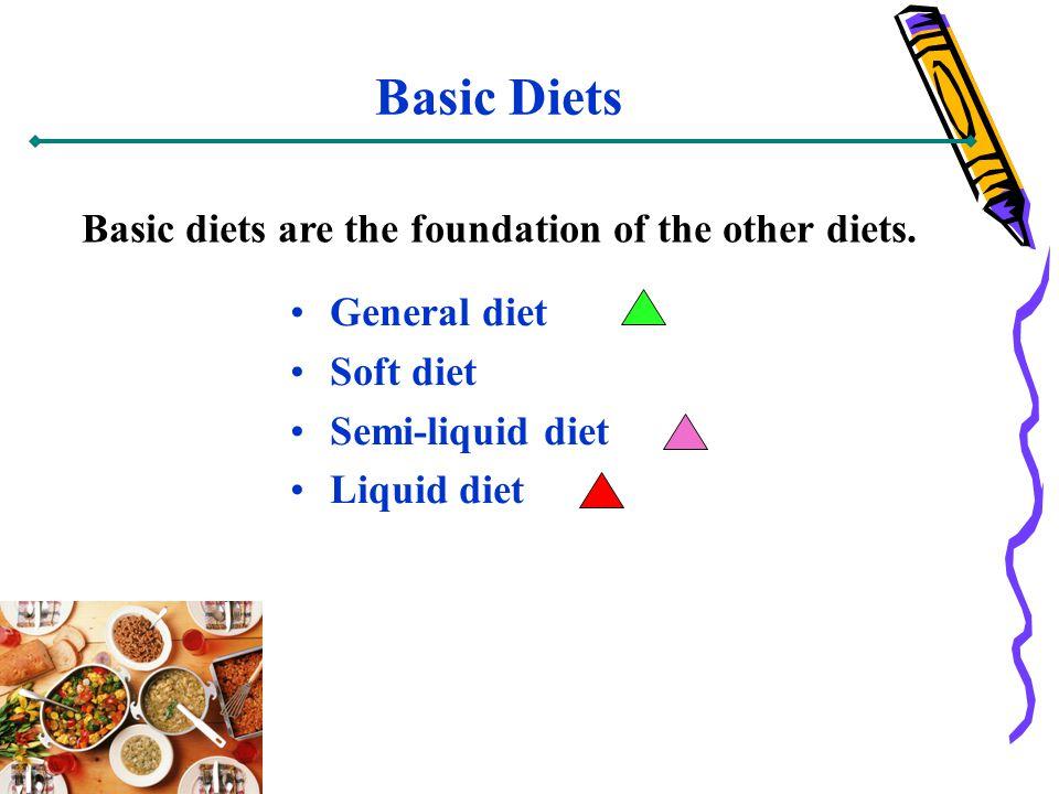 Basic Diets General diet Soft diet Semi-liquid diet Liquid diet Basic diets are the foundation of the other diets.