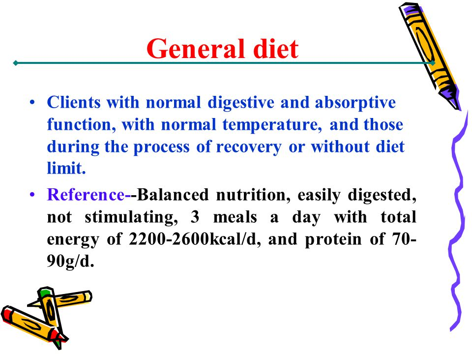 General diet Clients with normal digestive and absorptive function, with normal temperature, and those during the process of recovery or without diet