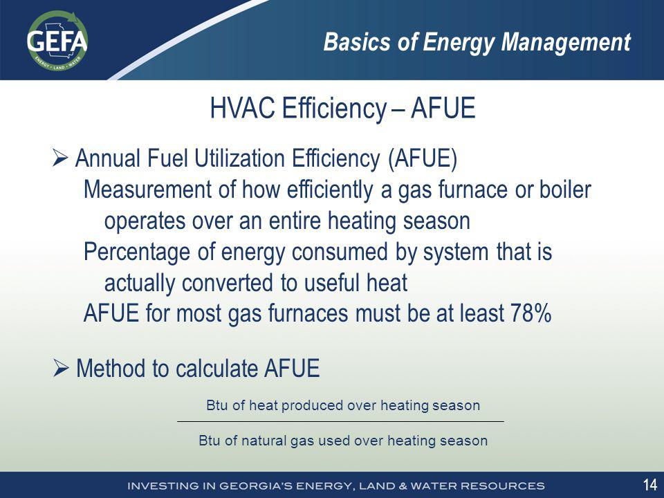 14 HVAC Efficiency – AFUE Annual Fuel Utilization Efficiency (AFUE) Measurement of how efficiently a gas furnace or boiler operates over an entire hea
