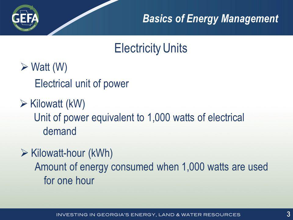 3 3 Electricity Units Watt (W) Electrical unit of power Kilowatt (kW) Unit of power equivalent to 1,000 watts of electrical demand Kilowatt-hour (kWh)
