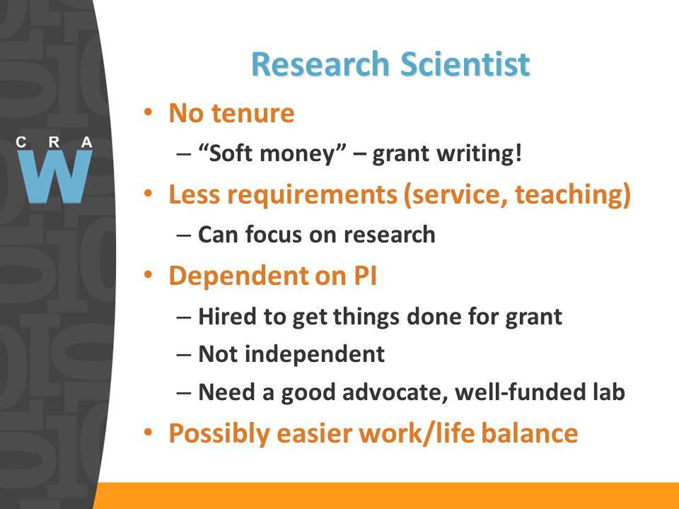 Research Scientist No tenure – Soft money – grant writing.