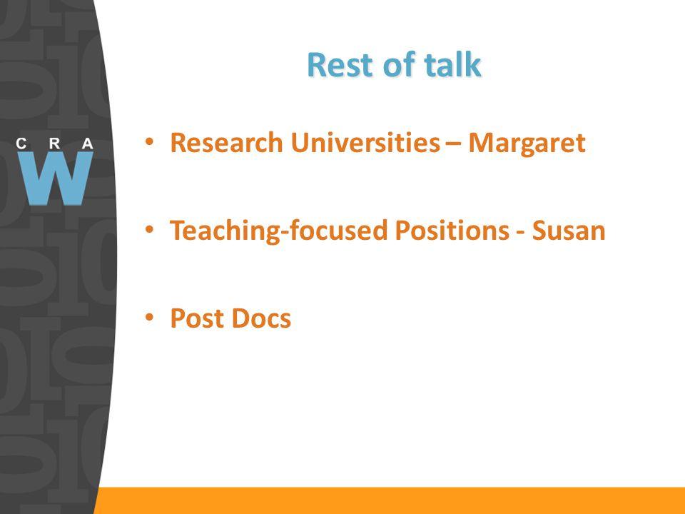 Rest of talk Research Universities – Margaret Teaching-focused Positions - Susan Post Docs