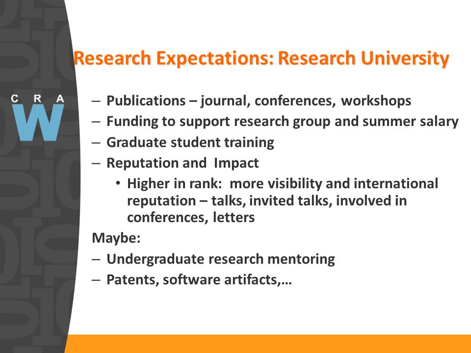 Research Expectations: Research University – Publications – journal, conferences, workshops – Funding to support research group and summer salary – Gr
