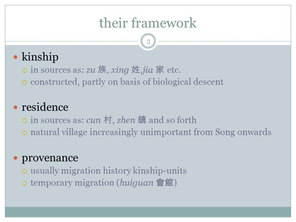 their framework kinship in sources as: zu, xing, jia etc.