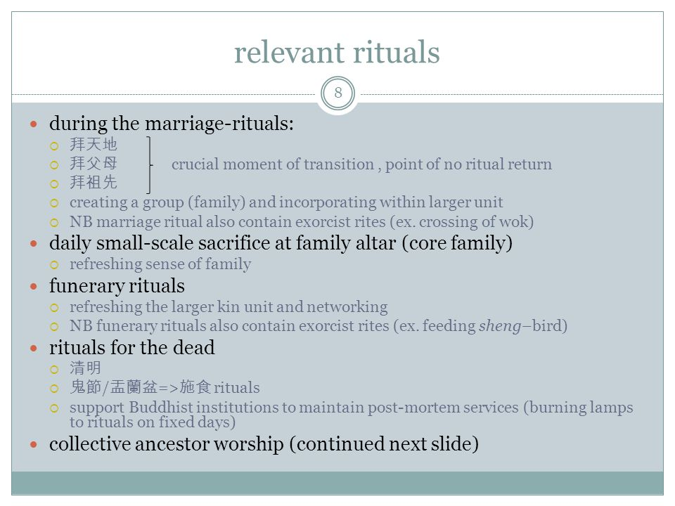 relevant rituals during the marriage-rituals: crucial moment of transition, point of no ritual return creating a group (family) and incorporating within larger unit NB marriage ritual also contain exorcist rites (ex.
