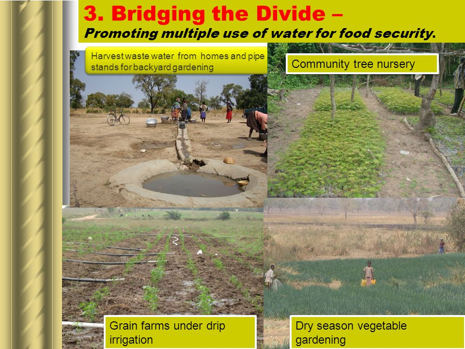 3. Bridging the Divide – Promoting multiple use of water for food security.