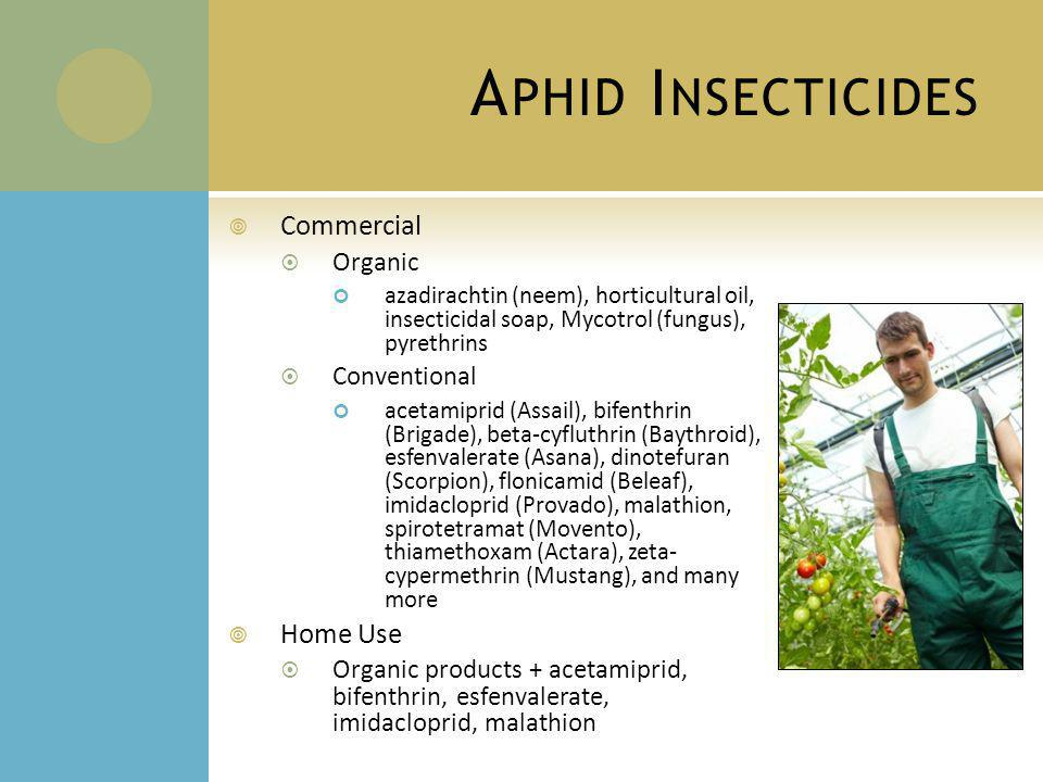 A PHID I NSECTICIDES Commercial Organic azadirachtin (neem), horticultural oil, insecticidal soap, Mycotrol (fungus), pyrethrins Conventional acetamiprid (Assail), bifenthrin (Brigade), beta-cyfluthrin (Baythroid), esfenvalerate (Asana), dinotefuran (Scorpion), flonicamid (Beleaf), imidacloprid (Provado), malathion, spirotetramat (Movento), thiamethoxam (Actara), zeta- cypermethrin (Mustang), and many more Home Use Organic products + acetamiprid, bifenthrin, esfenvalerate, imidacloprid, malathion