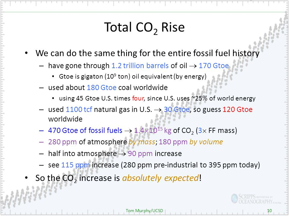 10 Total CO 2 Rise We can do the same thing for the entire fossil fuel history – have gone through 1.2 trillion barrels of oil 170 Gtoe Gtoe is gigaton (10 9 ton) oil equivalent (by energy) – used about 180 Gtoe coal worldwide using 45 Gtoe U.S.