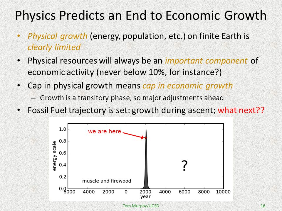 Physics Predicts an End to Economic Growth Physical growth (energy, population, etc.) on finite Earth is clearly limited Physical resources will always be an important component of economic activity (never below 10%, for instance ) Cap in physical growth means cap in economic growth – Growth is a transitory phase, so major adjustments ahead Fossil Fuel trajectory is set: growth during ascent; what next .