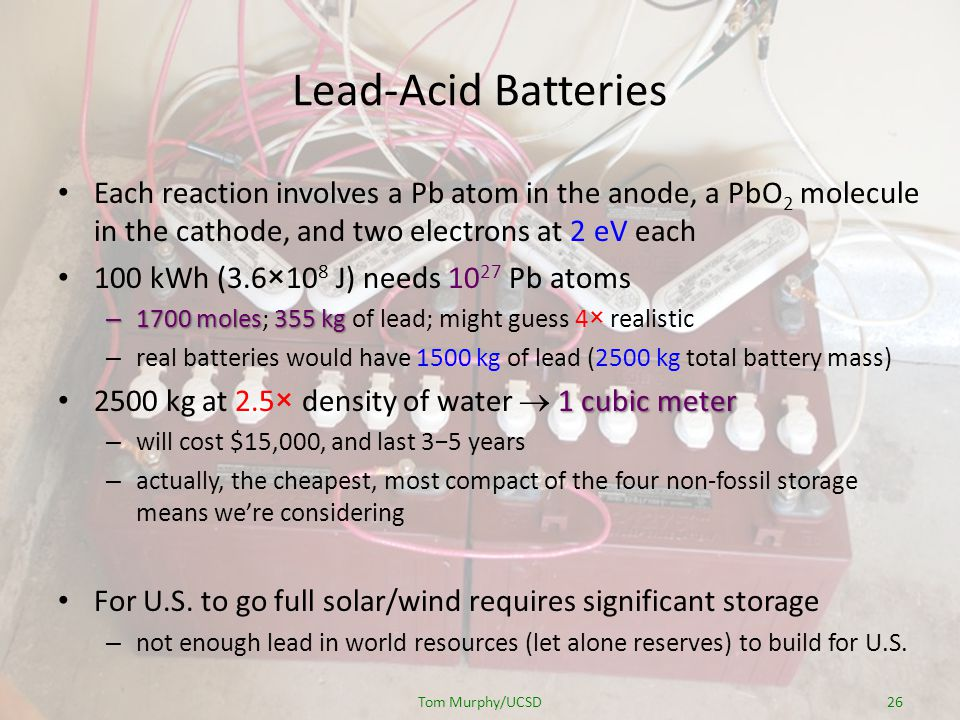 Lead-Acid Batteries Each reaction involves a Pb atom in the anode, a PbO 2 molecule in the cathode, and two electrons at 2 eV each 100 kWh (3.6×10 8 J) needs 10 27 Pb atoms – 1700 moles355 kg – 1700 moles; 355 kg of lead; might guess 4× realistic – real batteries would have 1500 kg of lead (2500 kg total battery mass) 1 cubic meter 2500 kg at 2.5× density of water 1 cubic meter – will cost $15,000, and last 35 years – actually, the cheapest, most compact of the four non-fossil storage means were considering For U.S.