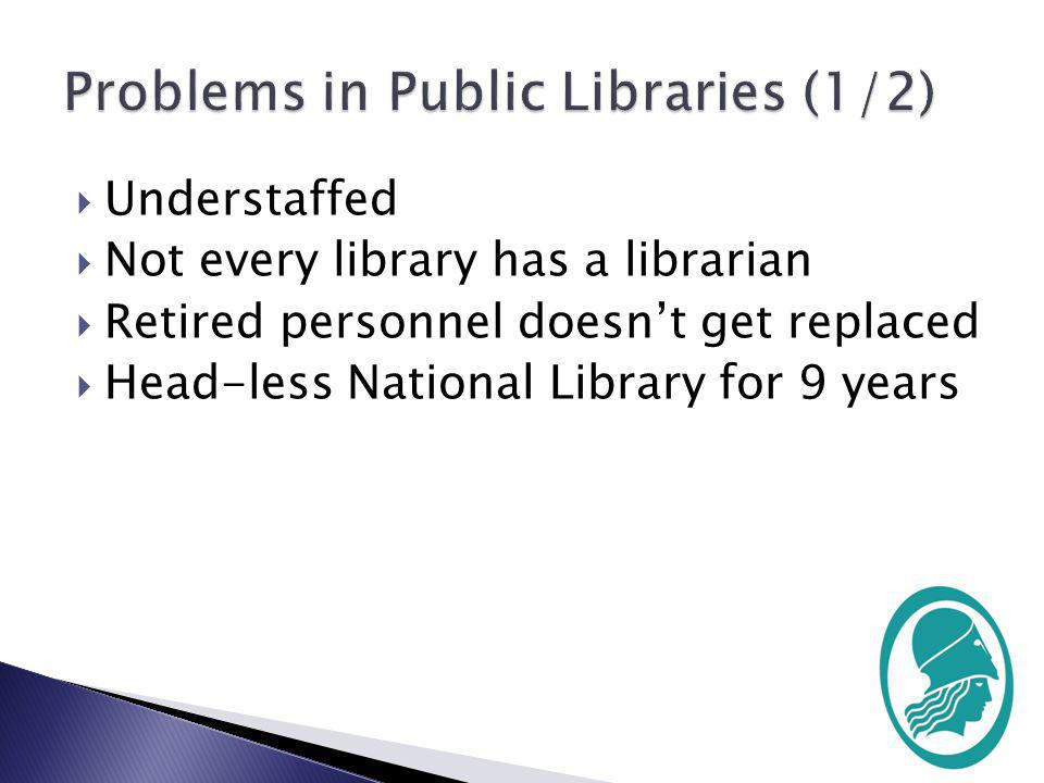 Budget-cuts Lack of libraries culture at they early educational stages.