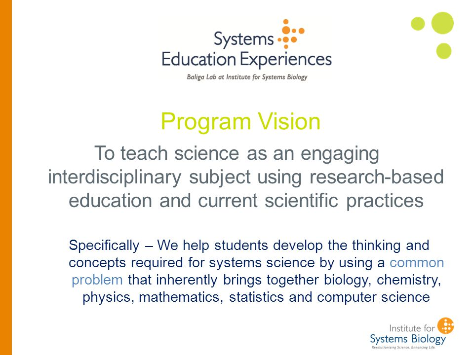 Program Mission: Cultivate cross-disciplinary skills for solving complex problems