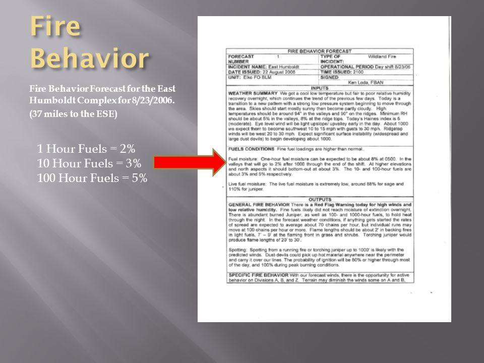 Fire Behavior Fire Behavior Forecast for the East Humboldt Complex for 8/23/2006.