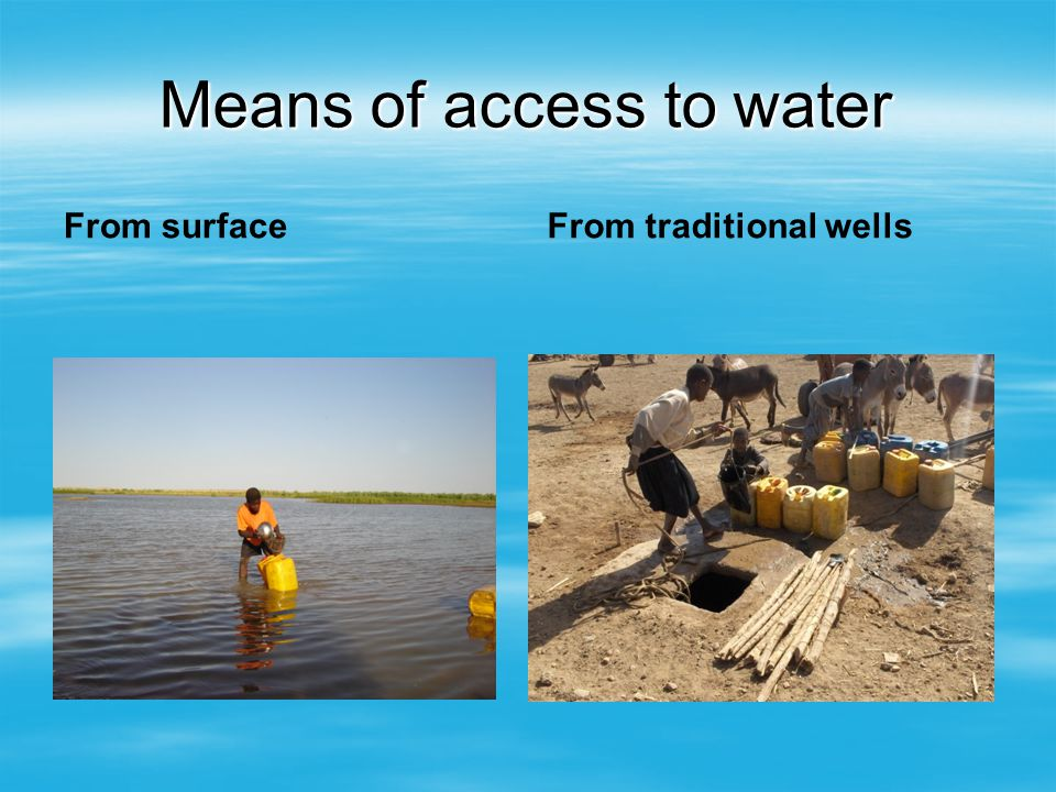 Means of access to water From surfaceFrom traditional wells