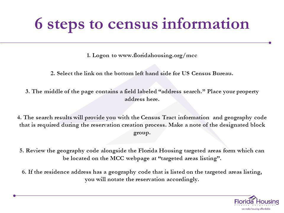 U.S. Census Tract There are six (6) steps which we recommend you take prior to completing the Census Tract, block group and targeted area information