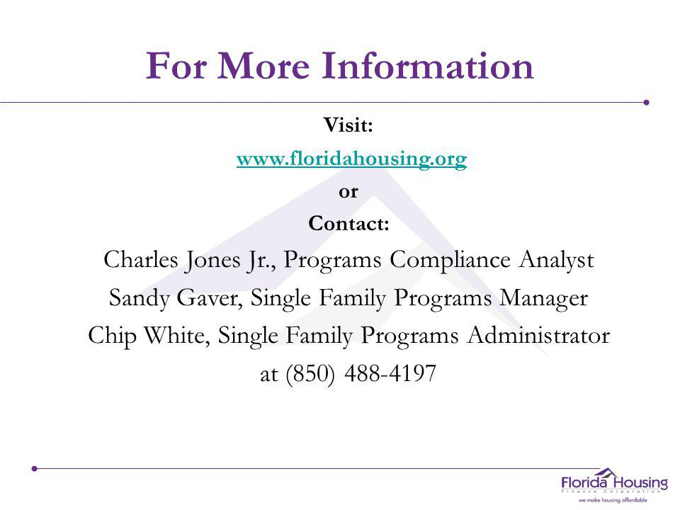 Lender Test Link http://www.FloridaHousing.org/ MCC/LenderTest