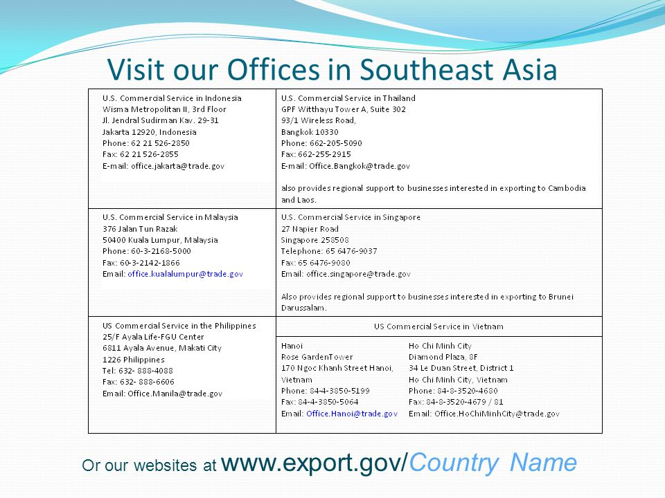 Visit our Offices in Southeast Asia Or our websites at www.export.gov/Country Name