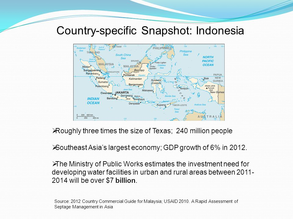 Country-specific Snapshot: Indonesia Roughly three times the size of Texas; 240 million people Southeast Asias largest economy; GDP growth of 6% in 2012.