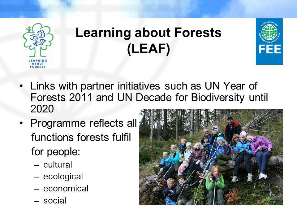 Learning about Forests (LEAF) Links with partner initiatives such as UN Year of Forests 2011 and UN Decade for Biodiversity until 2020 Programme reflects all functions forests fulfil for people: –cultural –ecological –economical –social