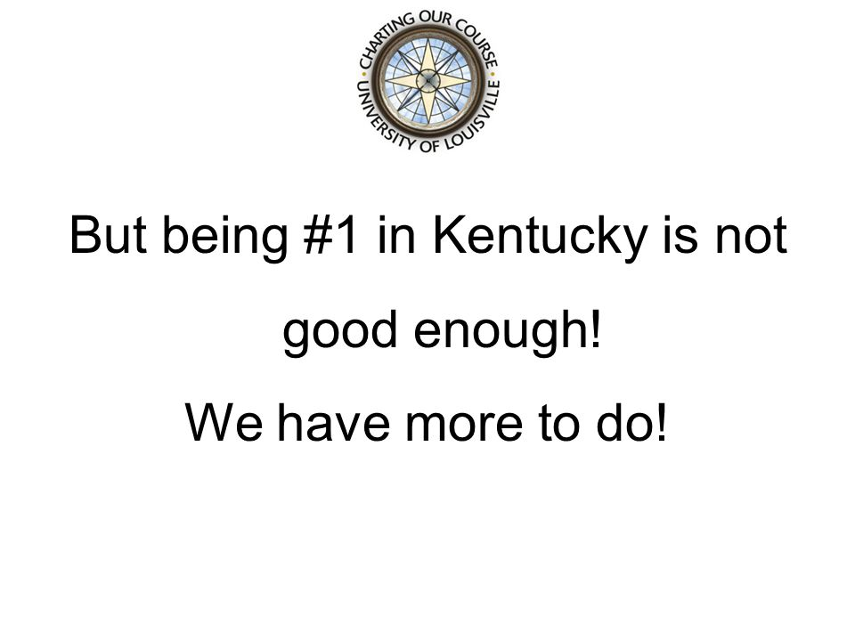 But being #1 in Kentucky is not good enough! We have more to do!