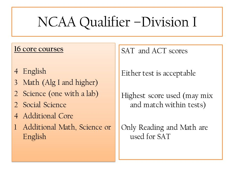 NCAA Qualifier –Division I 16 core courses 4 English 3 Math (Alg I and higher) 2 Science (one with a lab) 2 Social Science 4 Additional Core 1 Additio