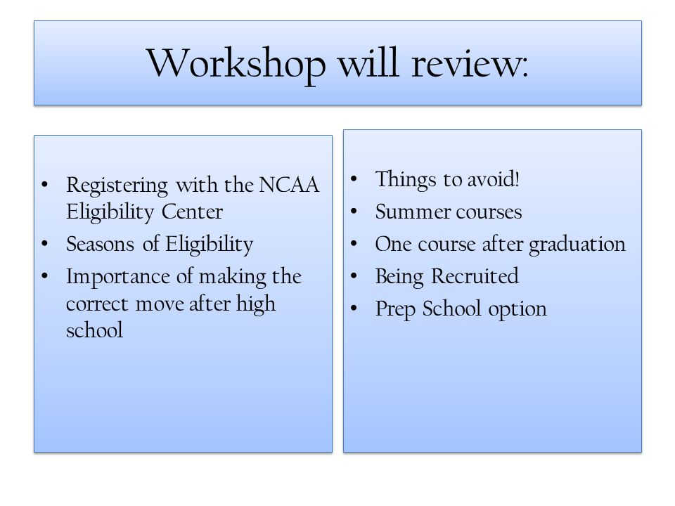 Workshop will review: Registering with the NCAA Eligibility Center Seasons of Eligibility Importance of making the correct move after high school Regi