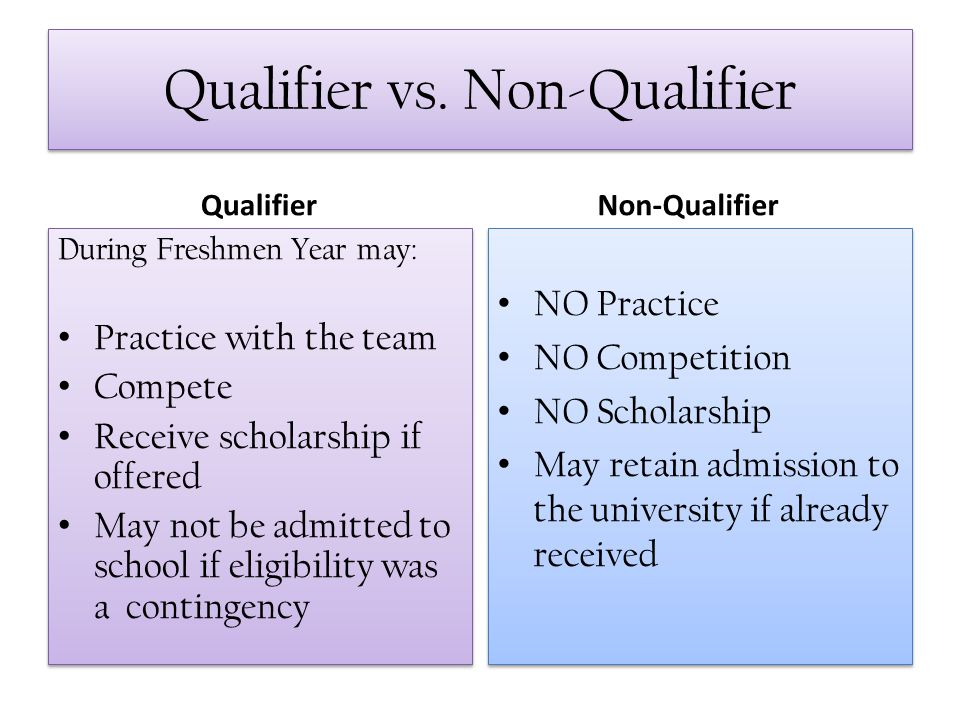 Qualifier vs. Non-Qualifier Qualifier During Freshmen Year may: Practice with the team Compete Receive scholarship if offered May not be admitted to s