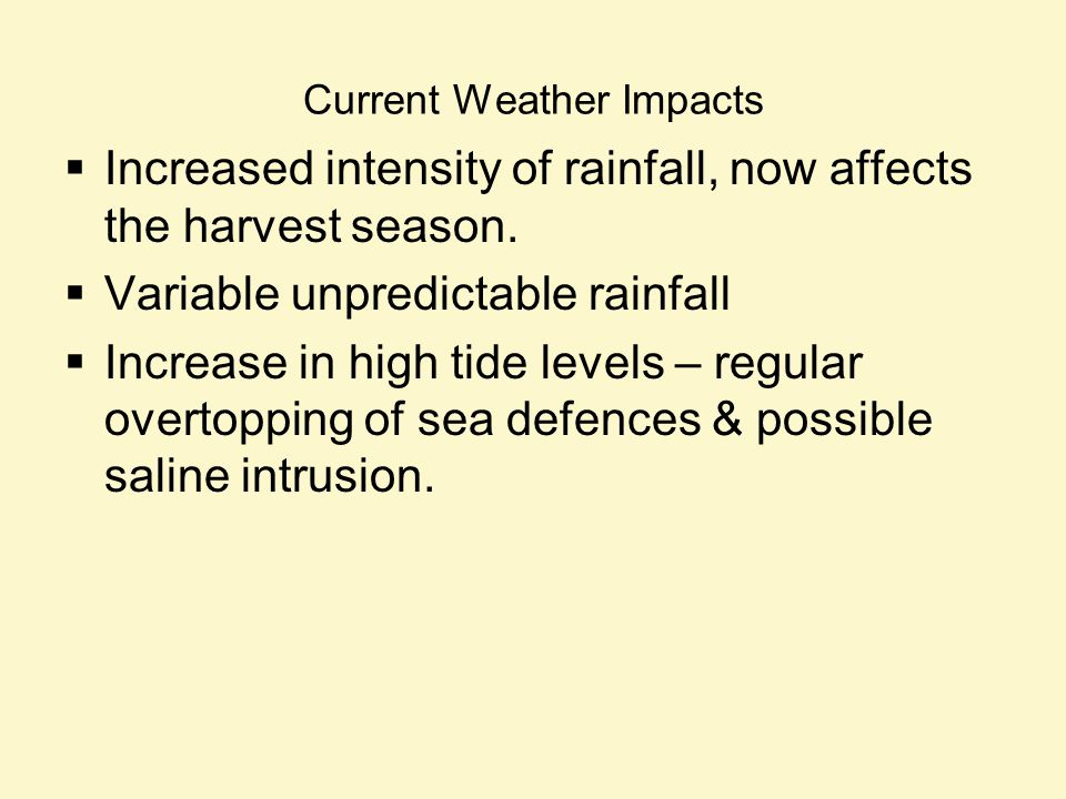 Current Weather Impacts Increased intensity of rainfall, now affects the harvest season.