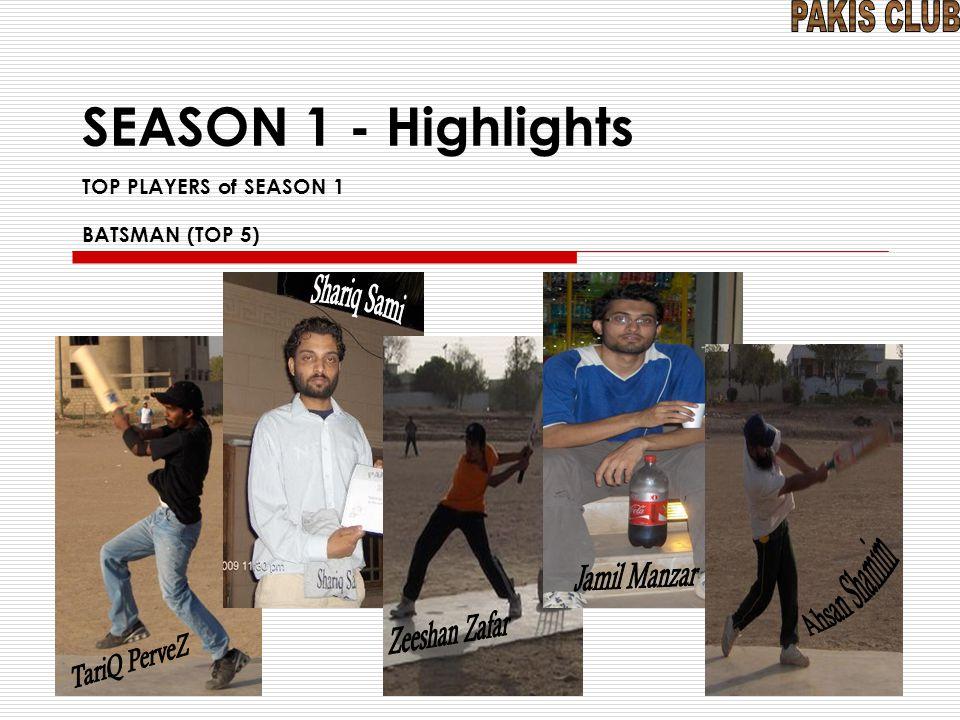 SEASON 1 - Highlights TOP PLAYERS of SEASON 1 BATSMAN (TOP 5)