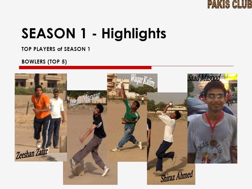 SEASON 1 - Highlights TOP PLAYERS of SEASON 1 BOWLERS (TOP 5)