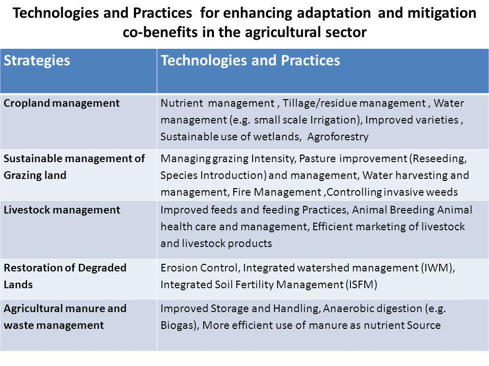 StrategiesTechnologies and Practices Cropland management Nutrient management, Tillage/residue management, Water management (e.g. small scale Irrigatio
