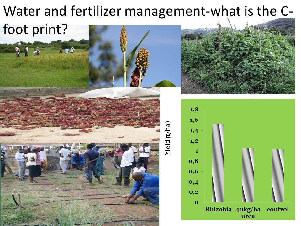 Yield (t/ha) Water and fertilizer management-what is the C- foot print