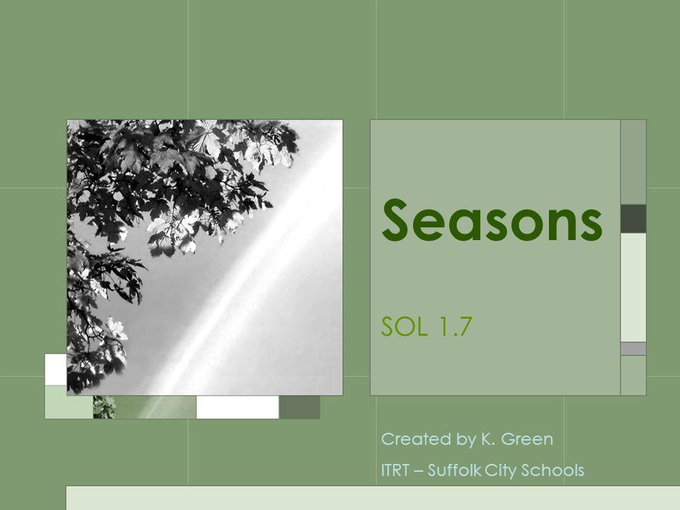 Seasons SOL 1.7 Created by K. Green ITRT – Suffolk City Schools
