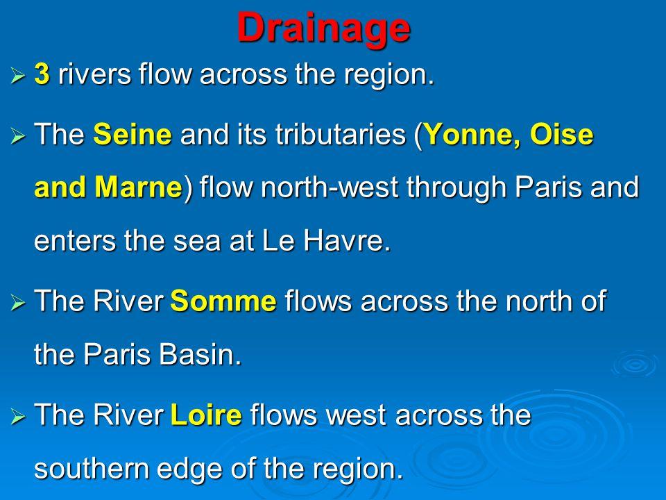 Drainage 3 rivers flow across the region.3 rivers flow across the region.