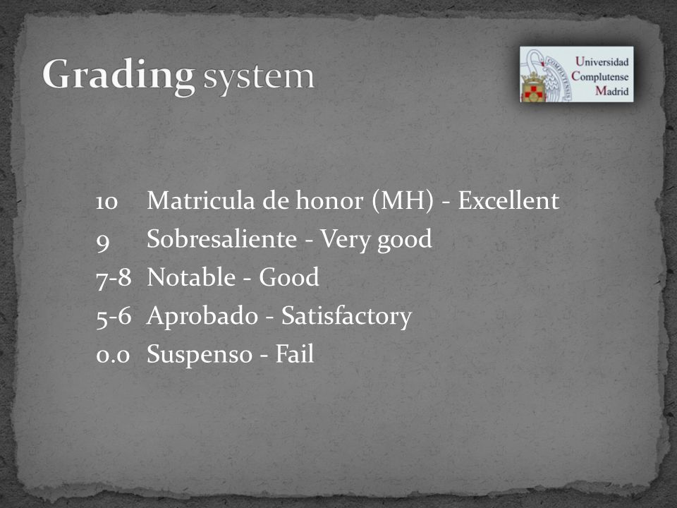 10Matricula de honor (MH) - Excellent 9Sobresaliente - Very good 7-8Notable - Good 5-6Aprobado - Satisfactory 0.0Suspenso - Fail