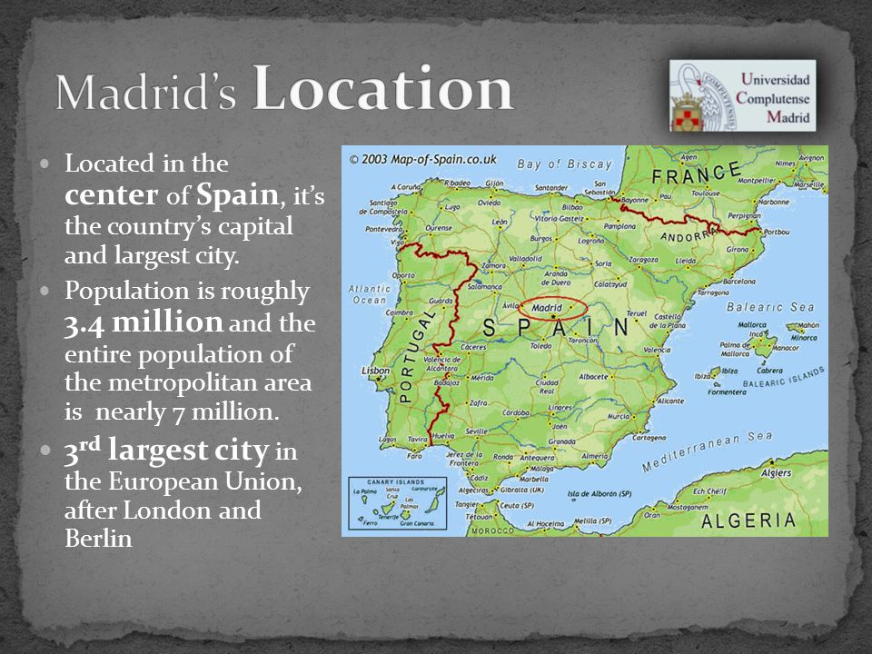 Located in the center of Spain, its the countrys capital and largest city.