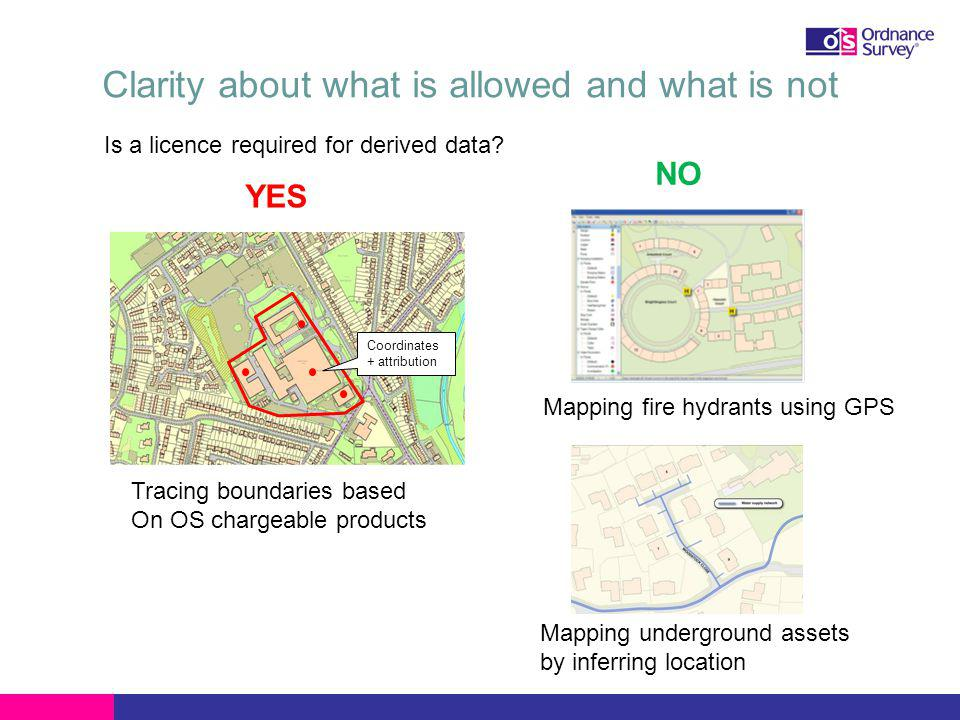 Clarity about what is allowed and what is not Mapping underground assets by inferring location Mapping fire hydrants using GPS NO YES Is a licence required for derived data.