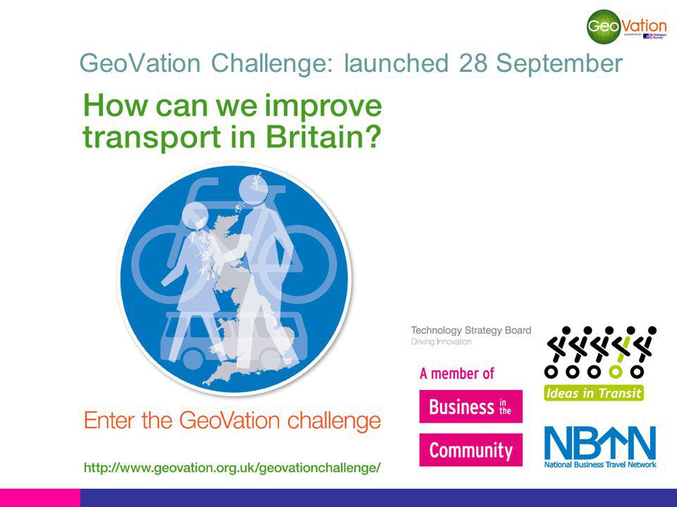 GeoVation Challenge: launched 28 September