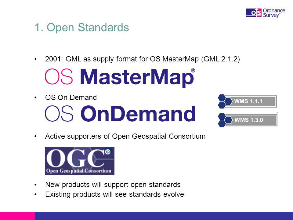 1. Open Standards 2001: GML as supply format for OS MasterMap (GML 2.1.2) OS On Demand Active supporters of Open Geospatial Consortium New products wi