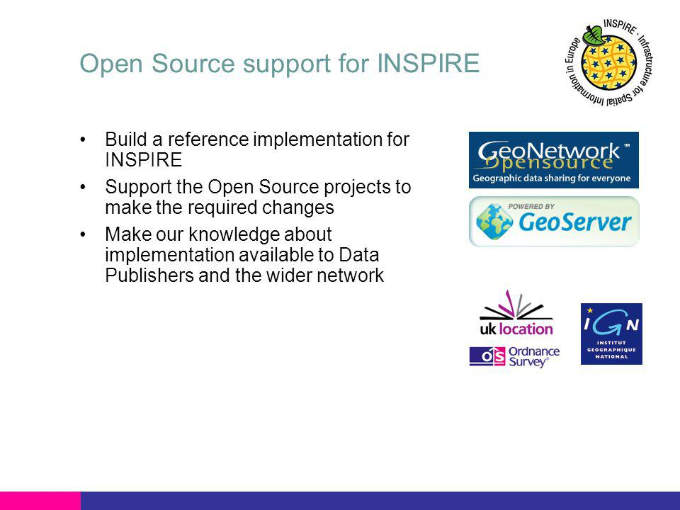 Open Source support for INSPIRE Build a reference implementation for INSPIRE Support the Open Source projects to make the required changes Make our knowledge about implementation available to Data Publishers and the wider network