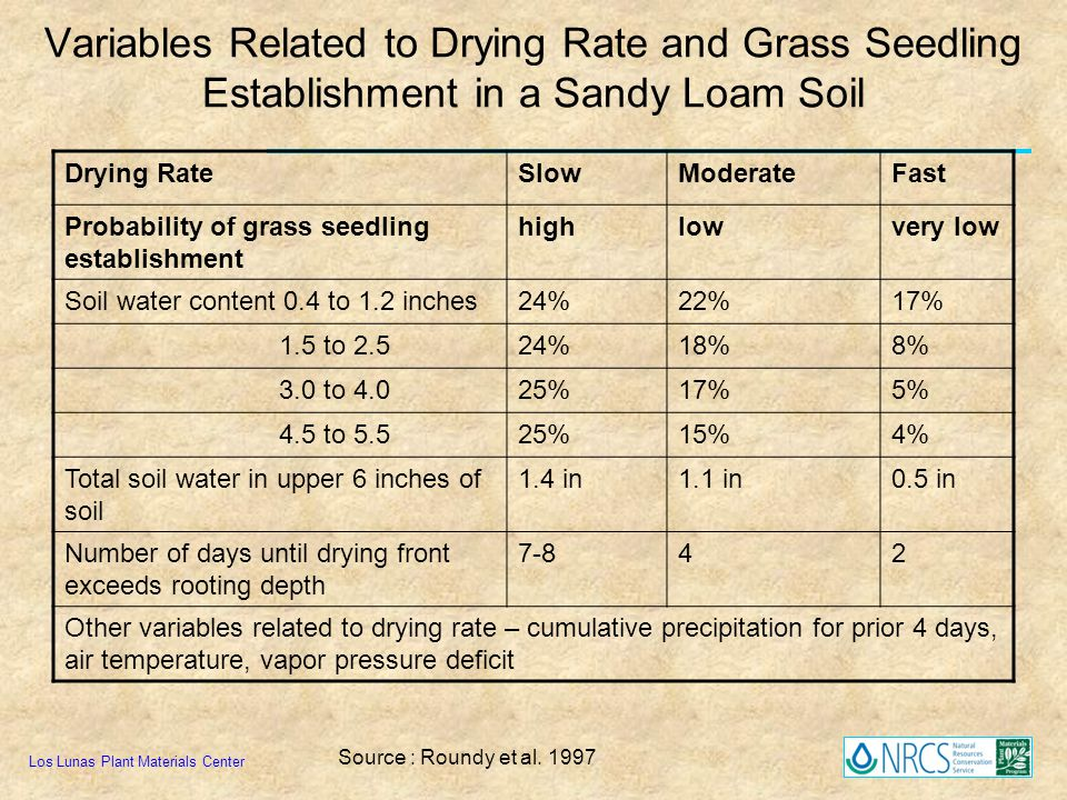 Variables Related to Drying Rate and Grass Seedling Establishment in a Sandy Loam Soil Los Lunas Plant Materials Center Drying RateSlowModerateFast Pr