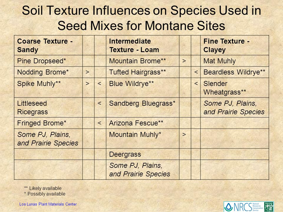 Soil Texture Influences on Species Used in Seed Mixes for Montane Sites Coarse Texture - Sandy Intermediate Texture - Loam Fine Texture - Clayey Pine