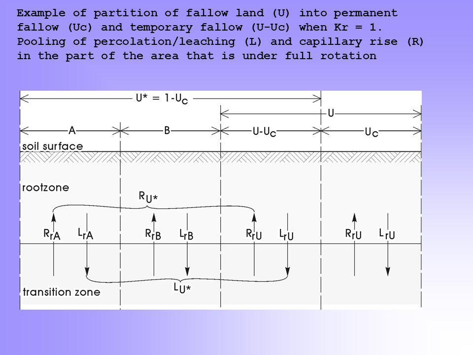 Example of partition of fallow land (U) into permanent fallow (Uc) and temporary fallow (U-Uc) when Kr = 1. Pooling of percolation/leaching (L) and ca