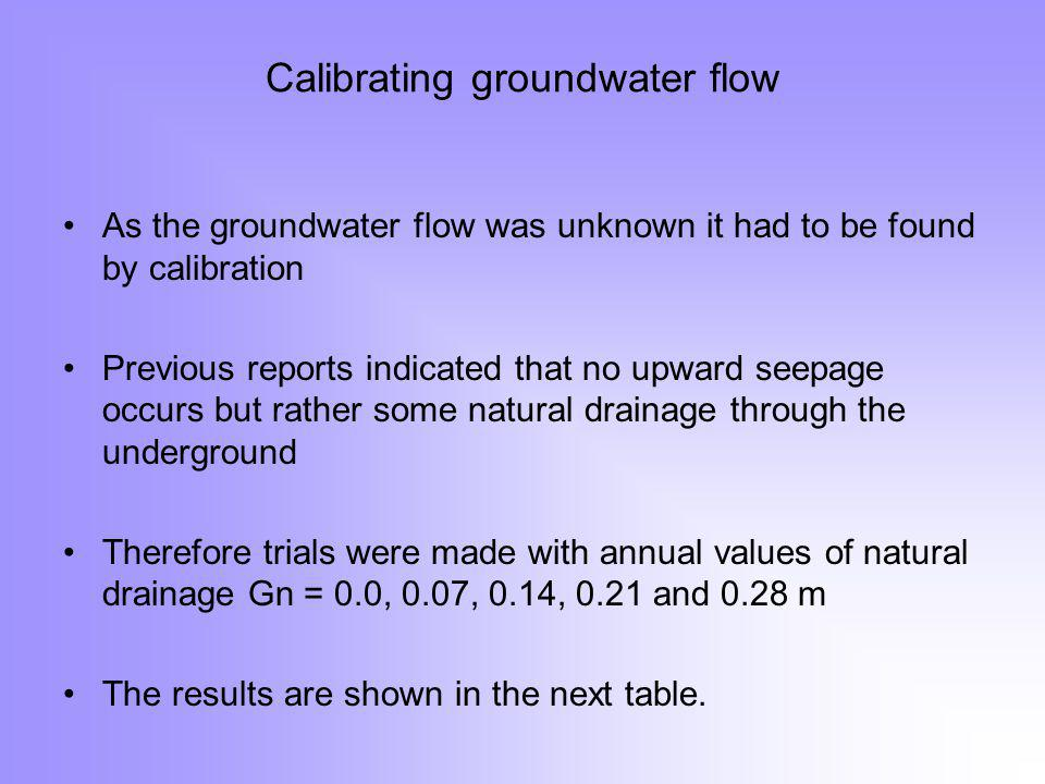 Calibrating groundwater flow As the groundwater flow was unknown it had to be found by calibration Previous reports indicated that no upward seepage occurs but rather some natural drainage through the underground Therefore trials were made with annual values of natural drainage Gn = 0.0, 0.07, 0.14, 0.21 and 0.28 m The results are shown in the next table.