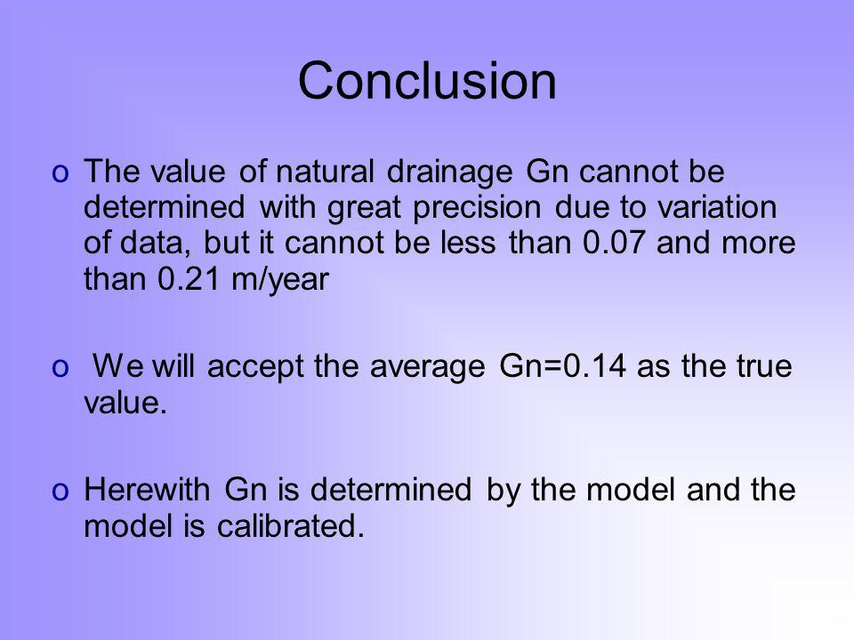 Conclusion oThe value of natural drainage Gn cannot be determined with great precision due to variation of data, but it cannot be less than 0.07 and more than 0.21 m/year o We will accept the average Gn=0.14 as the true value.