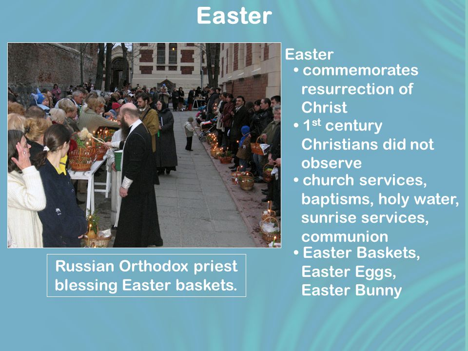 Easter Russian Orthodox priest blessing Easter baskets.
